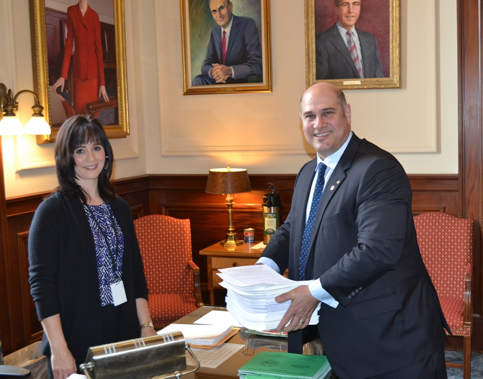 NHFC Vice President Alan Rice delivering your petitions to the Governor's receptionist